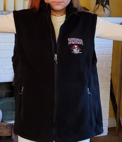 HOLIDAY SPECIAL: CLASSIC BLACK VEST w/embroidered RBR & PIRATE
