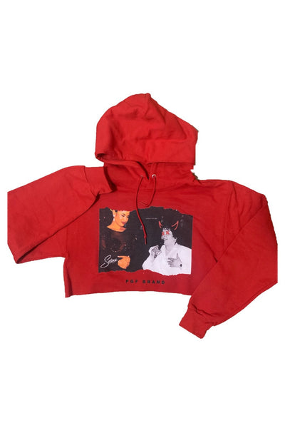 Selena Cropped Hoodie(Red)(cropped from unisex sized hoodies)