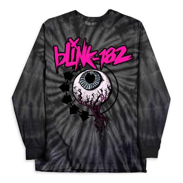 BLINK-182 EYEBALL SPIDER BLACK TIE DYE LONG SLEEVE SHIRT*