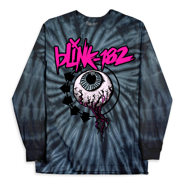 EYEBALL SPIDER NAVY LONG SLEEVE TIE DYE TEE*