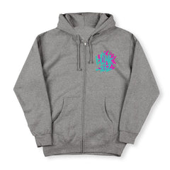 grey hoodie front pink and turquoise smiley print