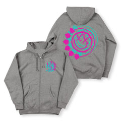 Grey Zip Hoodie with Front and back smiley arrow logo