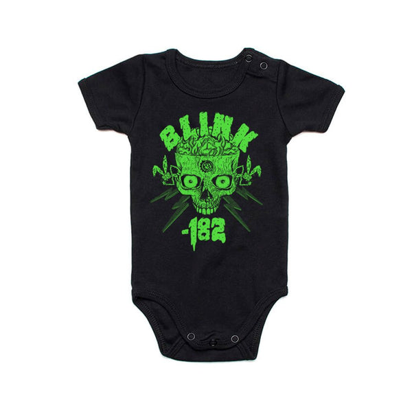 Haloween Green Skull 2020 Black Baby Onesie