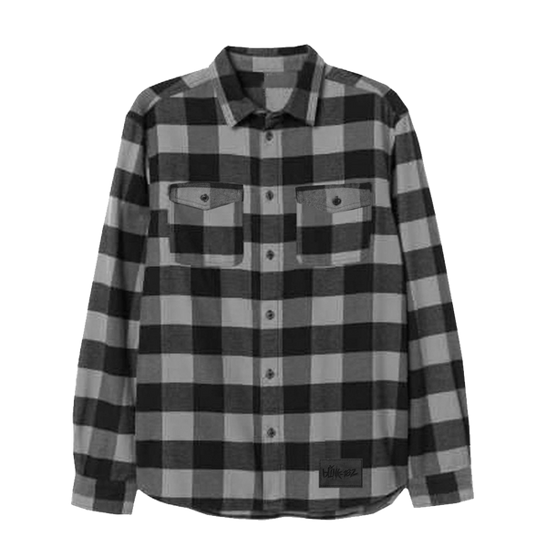 Grey and black check soft flannel