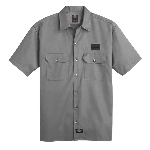 LOGO VEGAN PATCH GREY WORK SHIRT