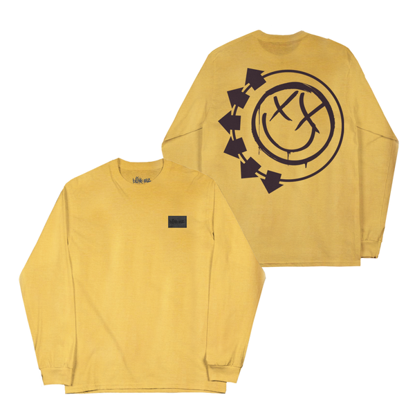Vegan Leather logo Yellow long sleeve front and back print