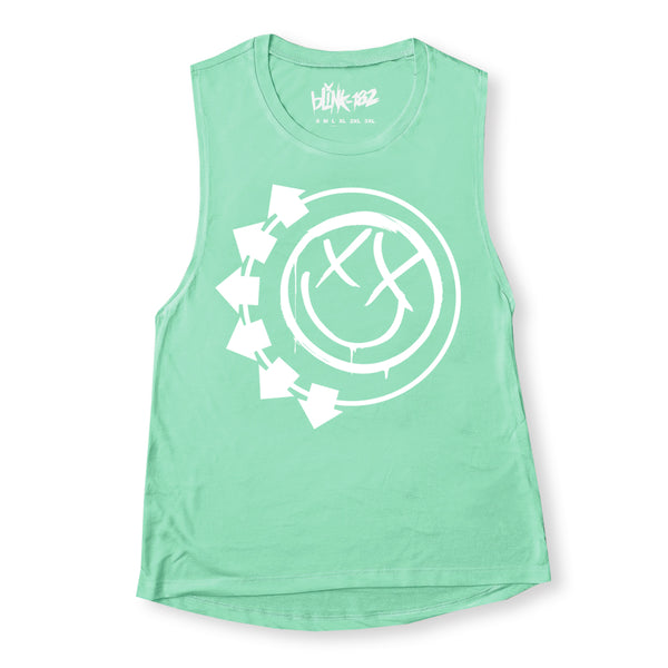 Arrow Smiley Green Ladies Muscle Tank