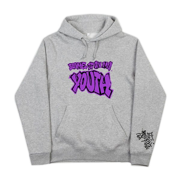 BLAME IT ON MY YOUTH HEATHER GRAY PULLOVER HOODIE