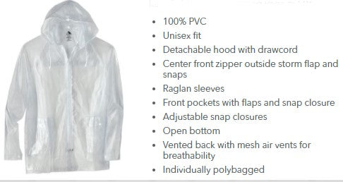 Smiley Arrow Full-Zip Clear Rain Jacket