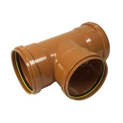 160mm T Junction Triple Socket 87.5 Degree - Floplast Drainage