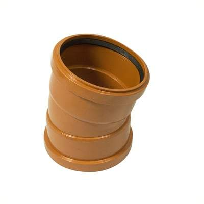 160mm Double Socket 15 Degree Bend - Floplast Drainage