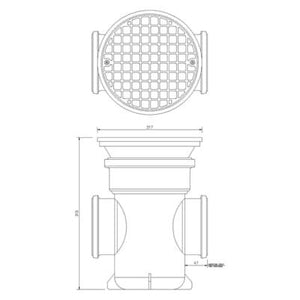 110mm Back Inlet Bottle Gully Circular Grid - Floplast Drainage