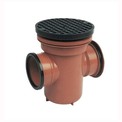 Image of 110mm Back Inlet Bottle Gully Circular Grid - Floplast Drainage