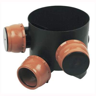 300mm Diameter / 45 Degree - Inspection Chamber Base 3 Adjustable Inlets - Floplast Drainage