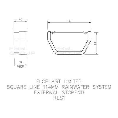 Image of Square Gutter External Stop End 114mm - All Colors - Floplast Drainage