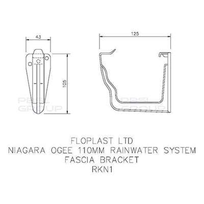 Image of Ogee Gutter Fascia Bracket 110mm x 80mm - All Colors - Floplast Drainage
