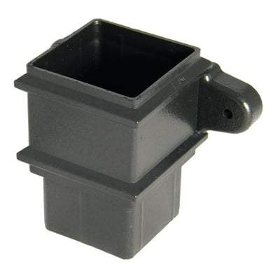 Image of Square Downpipe Socket with Fixing Lugs - 65mm Cast iron Effect - Floplast Drainage