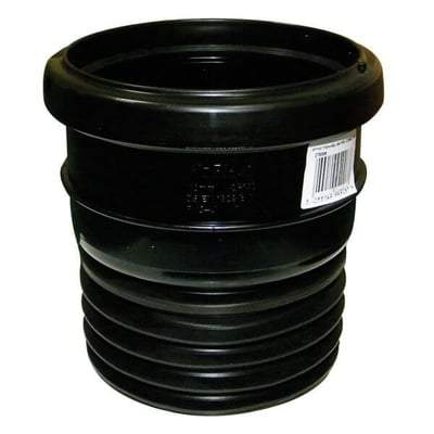 110mm Black Universal Adaptor - Ring Seal PVC Pipe to Cast Iron or Clay Drainage - Floplast Drainage