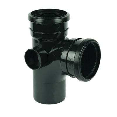Image of Ring Seal Soil Branch - 92.5 Degree X 110mm Black - Floplast Drainage