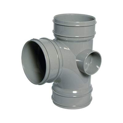 Image of Solvent Weld Soil Branch Socket - 92.5 Degree x 110mm Olive Grey - Floplast Drainage