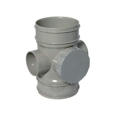 Solvent Weld Soil Access Pipe - 110mm Olive Grey - Floplast Drainage
