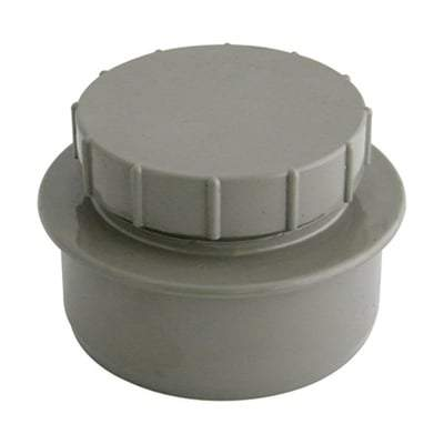Solvent Weld Soil Screwed Access Cap - 110mm Olive Grey - Floplast Drainage