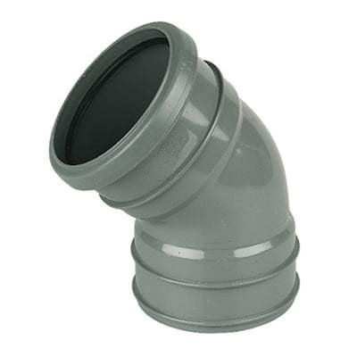 Solvent Weld Soil Offset Bend Top - 110mm Olive Grey - Floplast Drainage
