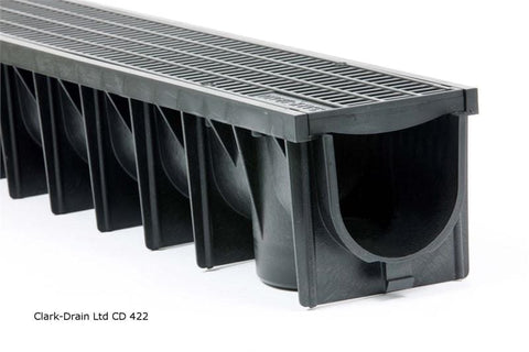 Image of Plastic Channel Drain with Mesh Grating 1m - A15 (1.5 Tonne) - Clark-Drain Drainage