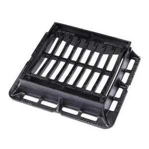 Cast Iron Hinged Gully Grating & Frame - 302 x 302 x 75mm Class C250 (25 Tonne) - Clark-Drain Drainage