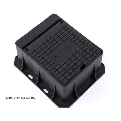 Image of Plastic Water Badged Surface Box - 167 x 156 x 75mm - Clark-Drain Drainage