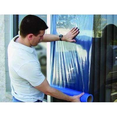 Surface Protection Tape Medium Tack Transparent Blue 600mm x 100m - Qualitape Foam Tape