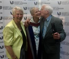 Jane Clarke honorary doctorate with parents