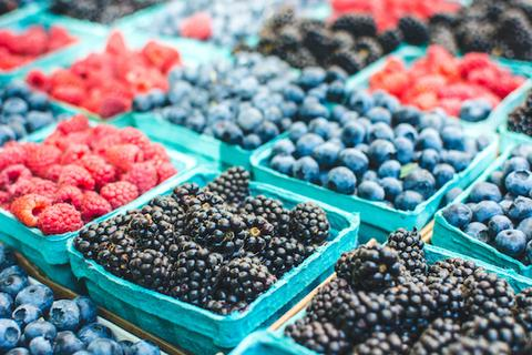 healthy berries on a market stall