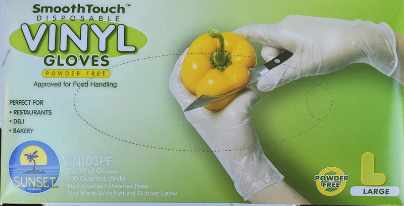 Smooth touch Disposable Gloves - Vinyl, Large (100ct)