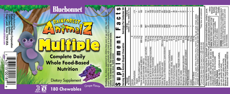 Bluebonnet Rainforest Animal Z Chewables Multiple Whole Food Based Nutrition Dietary Supplement (180ct)
