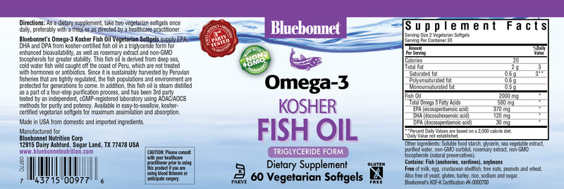 Bluebonnet Omega-3 Kosher Fish Oil Dietary Supplement (60ct)