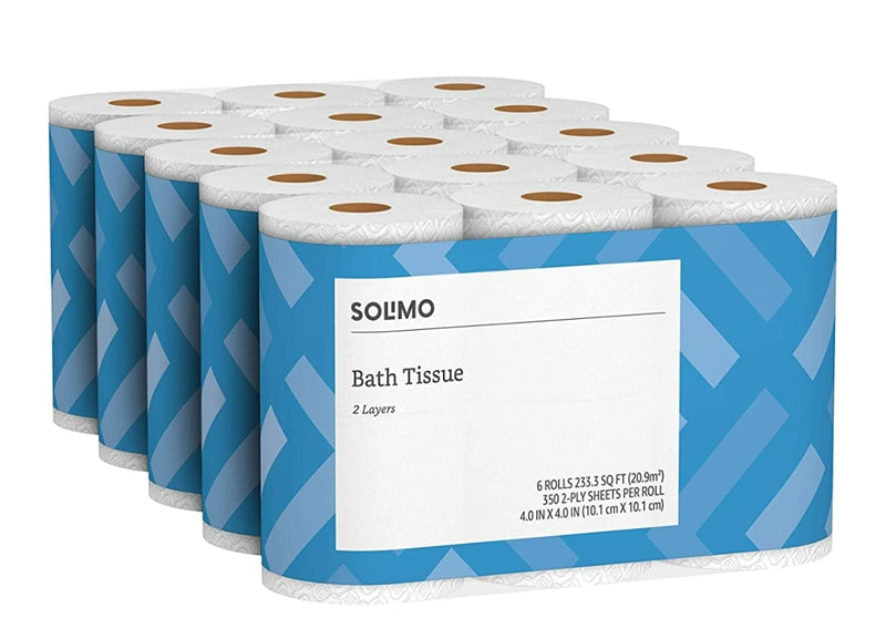 Solimo 2-Ply Toilet Paper, 350 Sheets per Roll (30ct)