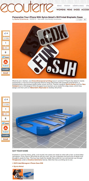 3D print iPhone cases are featured in Ecouterre