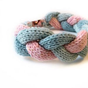 The Knit 9 Twist - Decorative Dog Collar -  Aqua & Rose