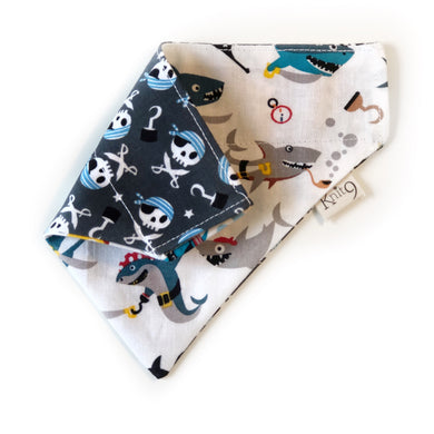 Pirate Sharks Bandana - White