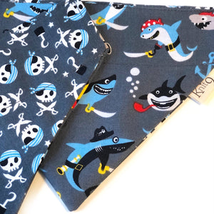 Pirate Sharks Bandana - Grey