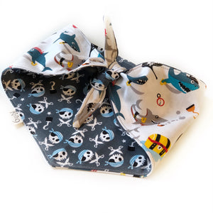 Pirate Sharks Knotted Bandana - White