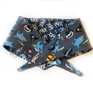 Pirate Sharks Knotted Bandana - Grey