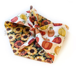 Pumpkins and Sunflowers Knotted Bandana