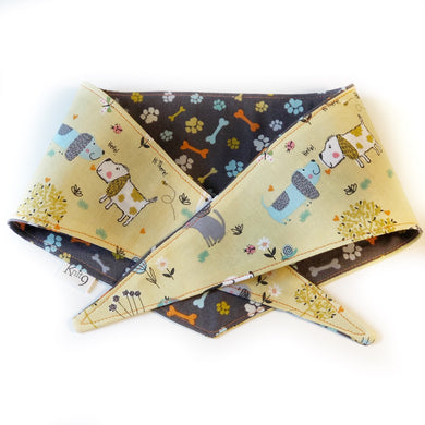 Say Hello - Dog Print Knotted Bandana - Gold