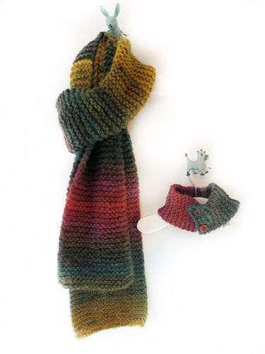 Cosy Handknit People Scarf - Autumn Leaves