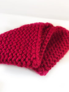 Handknit Super Chunky People Snood - Red