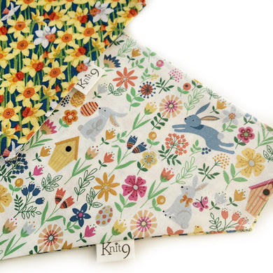 Daffodils and Bunnies Over the Collar Dog Bandana