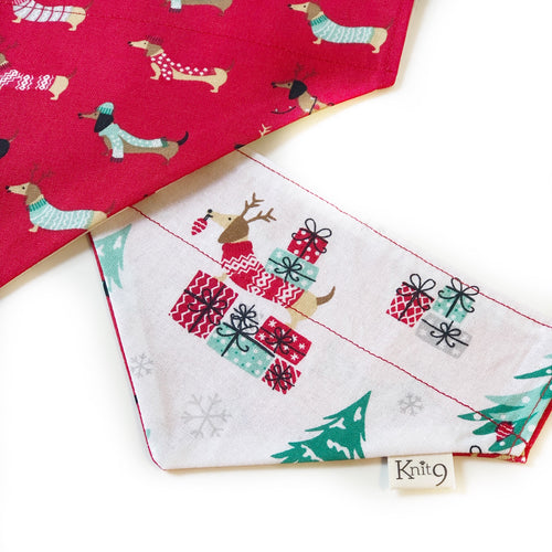 Christmas Dachshunds Bandana - Red