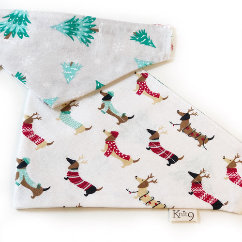 Christmas Dachshunds Bandana - White